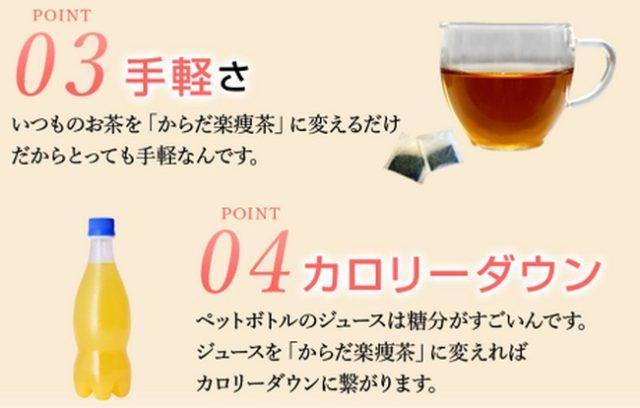 カフェインは、ウーロン茶の12分の1、お腹が痛くなるような成分は、入っていないので、小さなお子様や高齢の方でも安心してお飲みいただけます。飲み続けられるか不安な方には、8日間分のお試しコースも用意してる。【からだ楽痩茶】