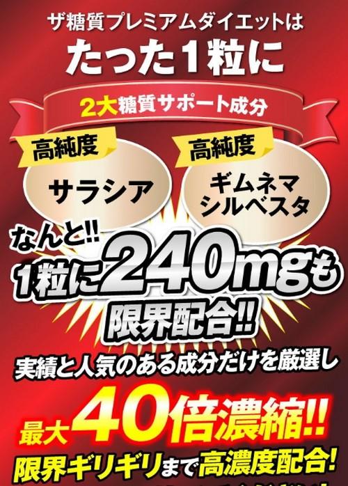 【ザ糖質プレミアムダイエット】糖質制限2大成分、1粒に限界配合!